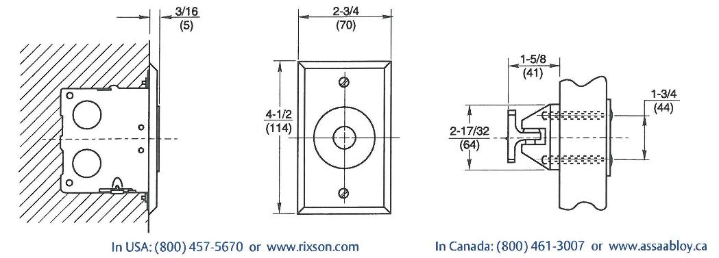 Rixson 990 Magnetic Release Dimensions