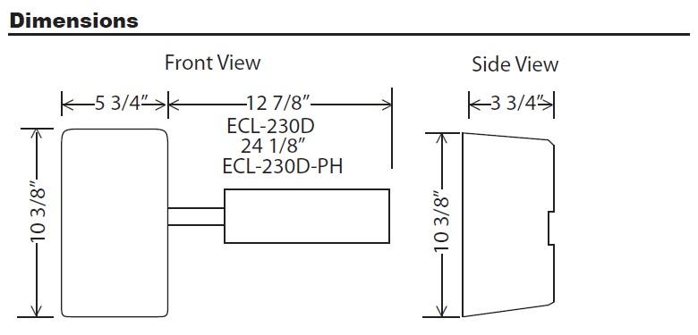 Detex ECL-230D Dimensions