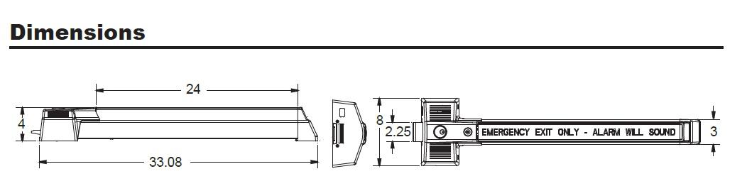 Detex ECL-230X Dimensions