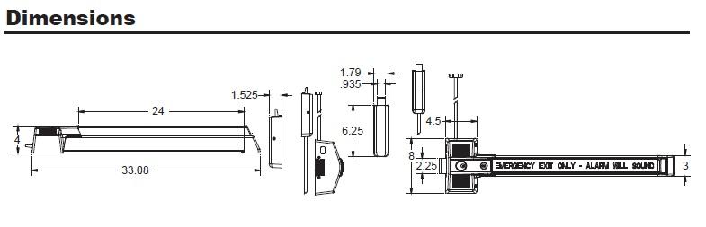Detex ECL-230X-TD Dimensions