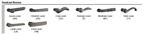 Emtek Sandcast Bronze Lever Selections