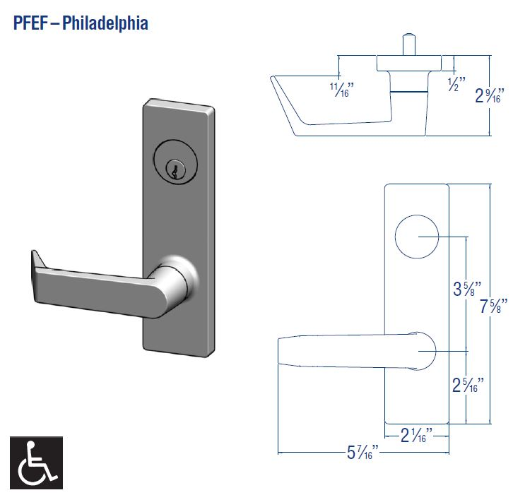 PDQ MR Series Mortise Lockset PFEF Philadelphia Design