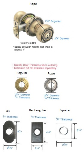 Emtek Rope Knob & Rosettes Specs