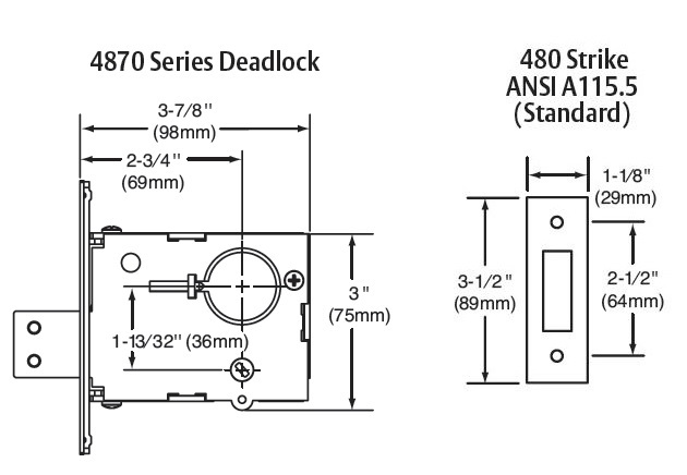 Sargent 4870 Series Mortise Deadlock
