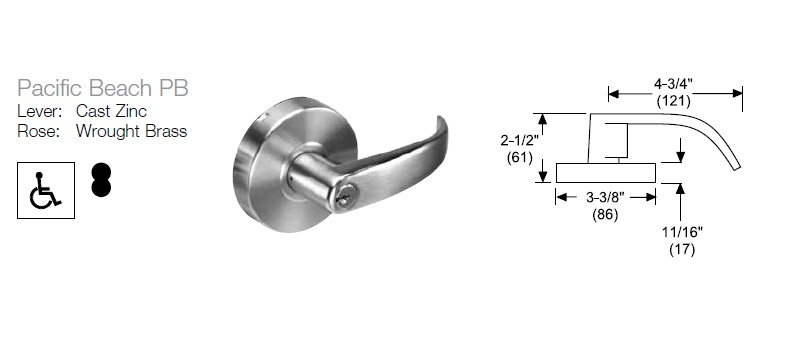 Yale 4600LN PB Series Lockset Dimensions
