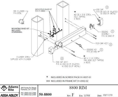 Adams Rite Rim 8800 Parts List Illustration
