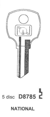 National D8785 Keyblank