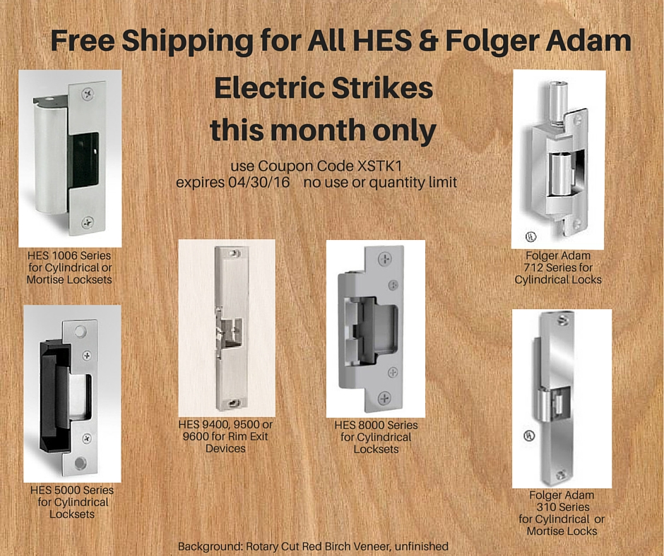 Free Shipping for HES and Folger Adam Electric Strikes