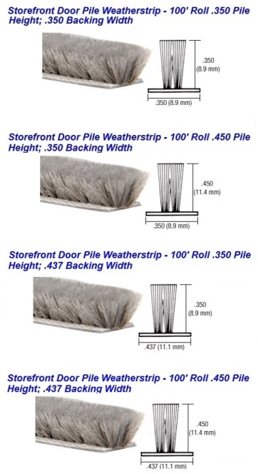 Storefront Aluminum Replacement Pile Weatherstrip