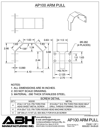 ABH Mfg Arm Pull AP-100