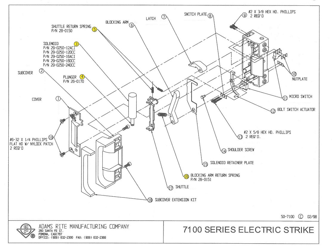Adams Rite 29 0250 12dcc Solenoid 12vdc Cont Or 24vac Int Phillips 12v Wiring Diagram 7100 Series Electric Strike Replacement Part