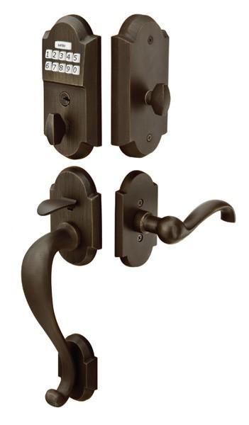 Emtek EMTouch Sandcast Bronze Style Electronic Keypad Entry Set w/ Teton Lever