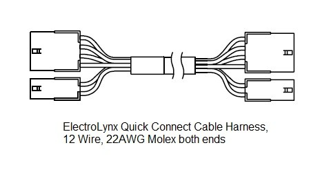 ElectroLynx Quick Connect Wire Cables 12 Wire - Molex Both Ends
