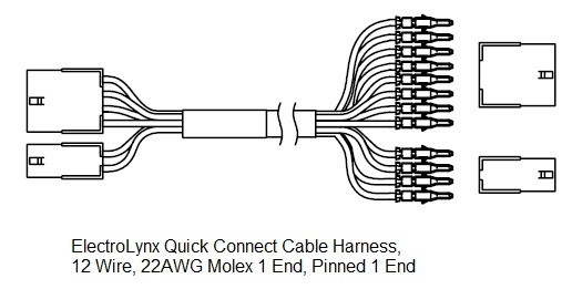 ElectroLynx Quick Connect Wire Cables 12 Wire - Molex 1 End