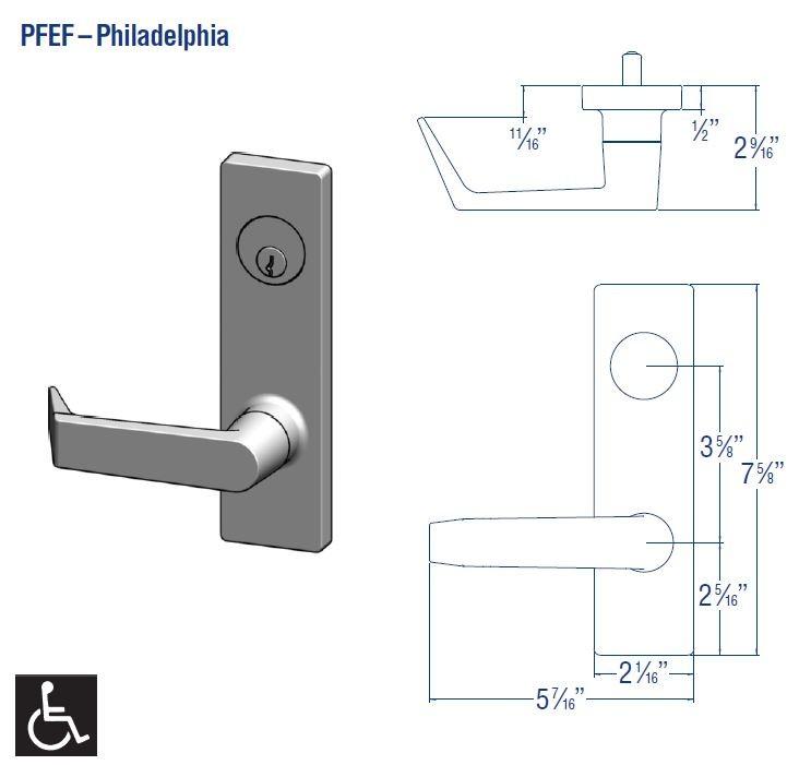PDQ Mortise Escutcheon PFEF Design