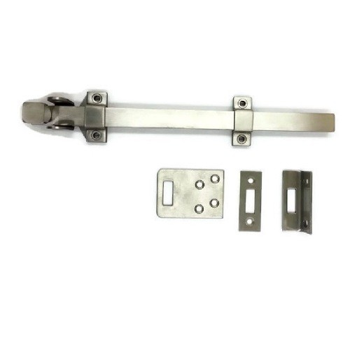 Rockwood 582 12 inch Stainless Steel Surface Bolt with padlock bracket