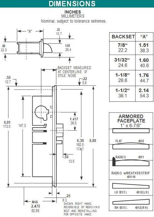 Adams Rite Aluminum Door Deadlatch 4510 628