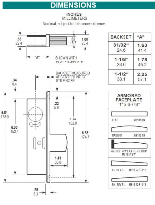 Adams Rite Aluminum Door Deadbolt Ms1850s 628
