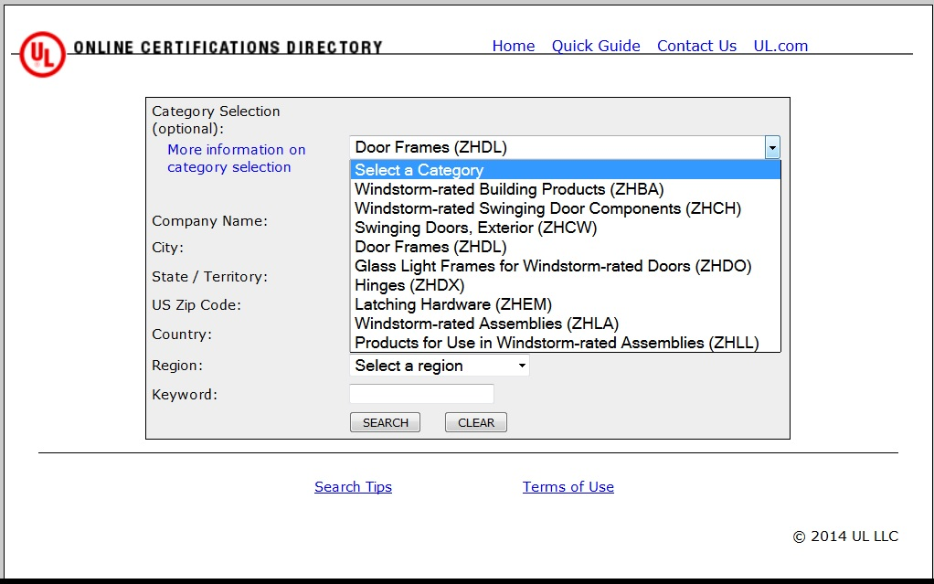 UL Online Certifications Directory Windstorm related items