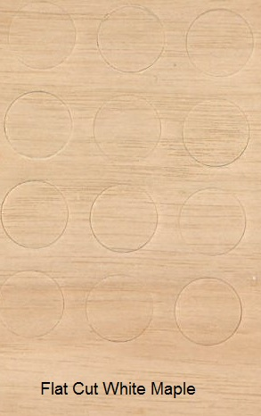 Flat Cut White Maple Veneer - Buttons for Screw heads